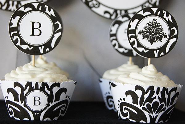 Black-Damask-Cupcake-Printables