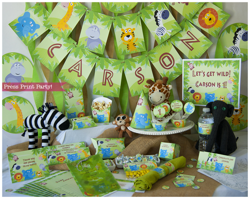 Jungle Safari Printables for Birthday or Baby Shower