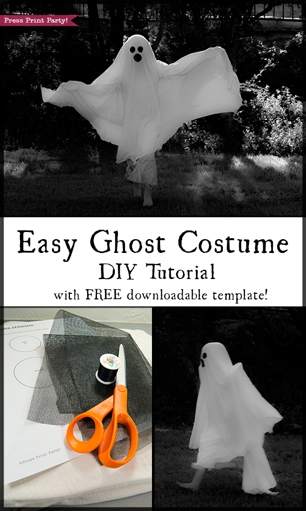 Easy Ghost Costume Tutorial DIY - With free eyes and mouth Template download - By Press Print Party!