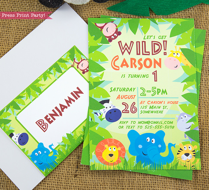 Jungle Theme Party Printables for Jungle Birthday or Safari Baby Shower - Press Print Party! Jungle party invitation