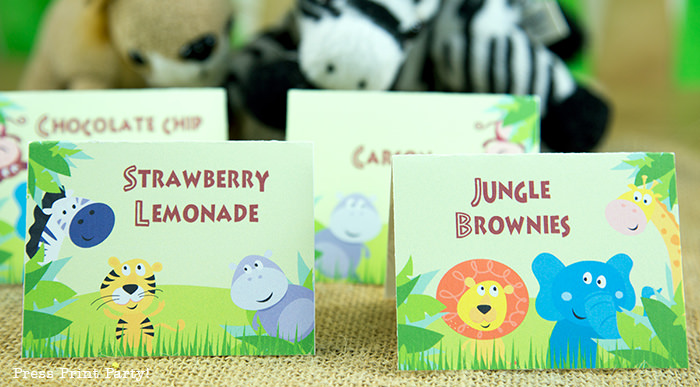 Jungle Theme Party Printables for Jungle Birthday or Safari Baby Shower - Press Print Party! Jungle party place cards