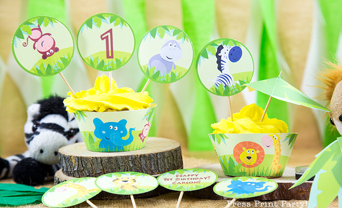 Jungle Theme Party Printables for Jungle Birthday or Safari Baby Shower - Press Print Party! Jungle party cupcake toppers