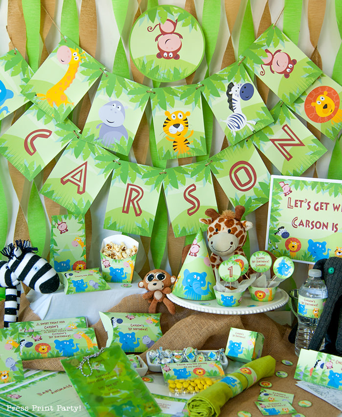 Jungle Theme Party Printables for Jungle Birthday or Safari Baby Shower - Press Print Party! full set