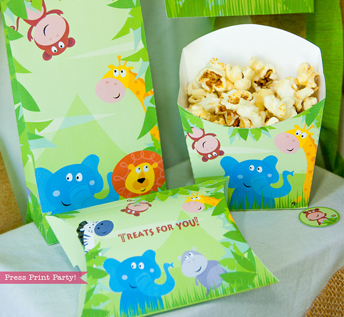 Jungle Theme Party Printables for Jungle Birthday or Safari Baby Shower - Press Print Party! Favor boxes