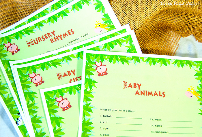 Jungle Theme Party Printables for Jungle Birthday or Safari Baby Shower - Press Print Party! baby shower games