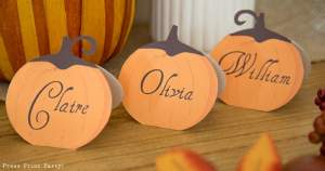 3 Rustic pumpkin Thanksgiving place cards - Press Print Party!