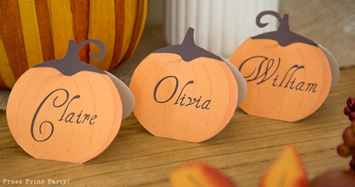 Rustic Pumpkin Printable Thanksgiving place cards