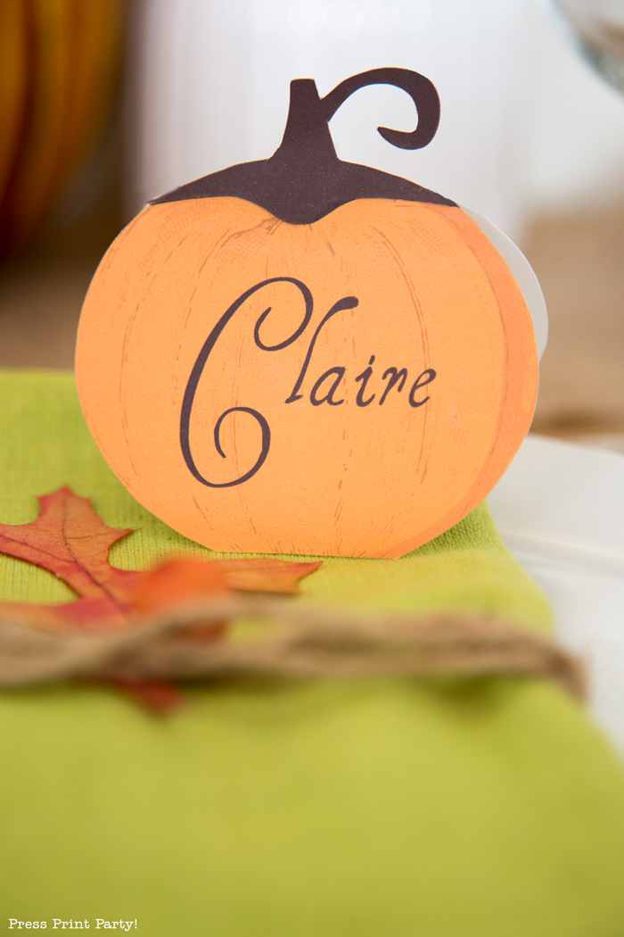 Rustic Thanksgiving place cards - Press Print Party!