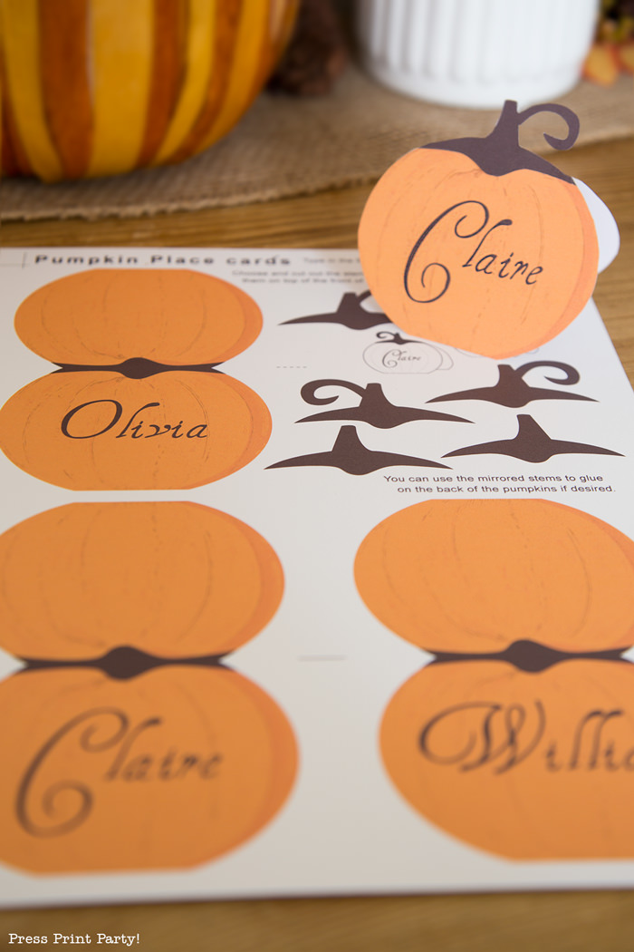 Rustic Thanksgiving place cards printable - Press Print Party!