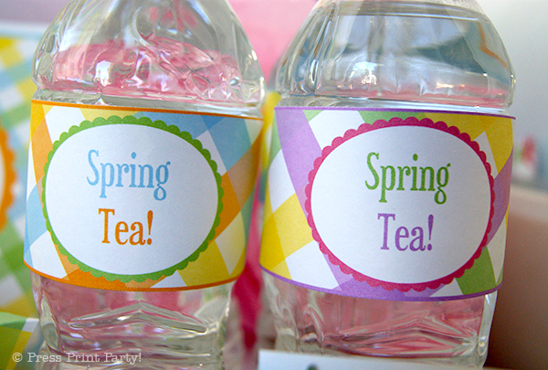 Spring Gingham Printables for Easter by Press Print Party! - Water bottle wraps
