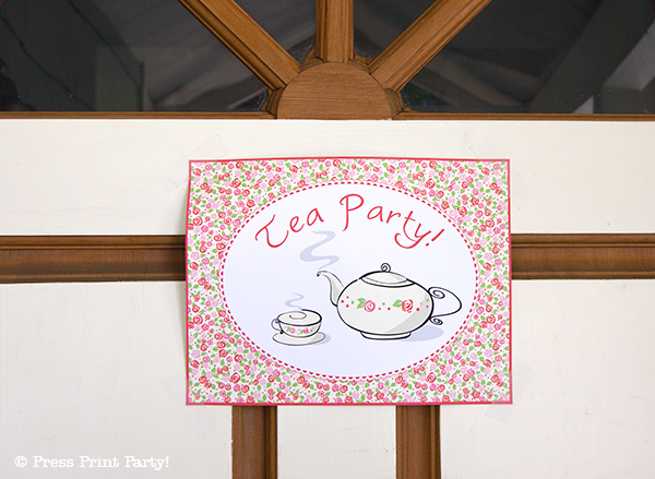 A Delightful Spring Tea Party - by Press Print Party. Door Sign