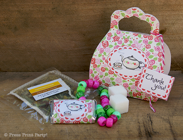 A Delightful Spring Tea Party - by Press Print Party. Favor Purse Box with Tea