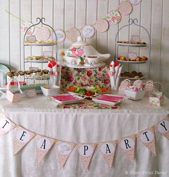 A Delightful Spring Tea Party - by Press Print Party. Party Food Table