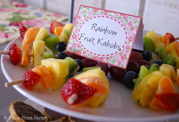 A Delightful Spring Tea Party - by Press Print Party. Rainbow Fruit Kabobs