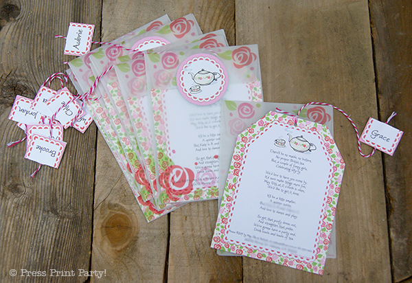 A Delightful Spring Tea Party - by Press Print Party. Printable Party Invitation