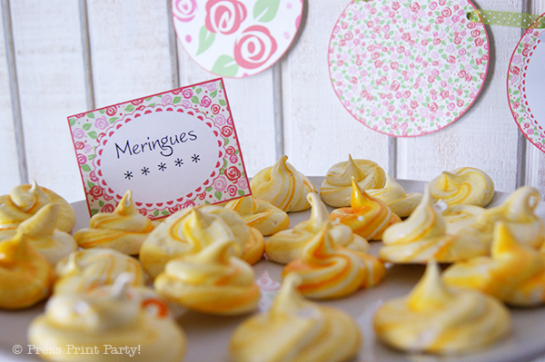 A Delightful Spring Tea Party - by Press Print Party. Martha Stewart Meringue