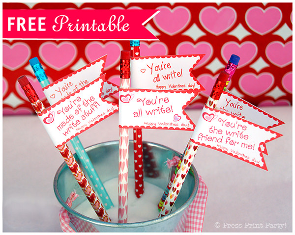 graphic about Pencil Valentine Printable called Free of charge Valentines Working day Printable Pencil Toppers - Push Print