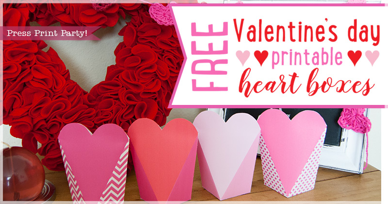 picture relating to Valentine Heart Printable called Free of charge Valentines Working day Printable Center Packing containers - Drive Print Celebration!