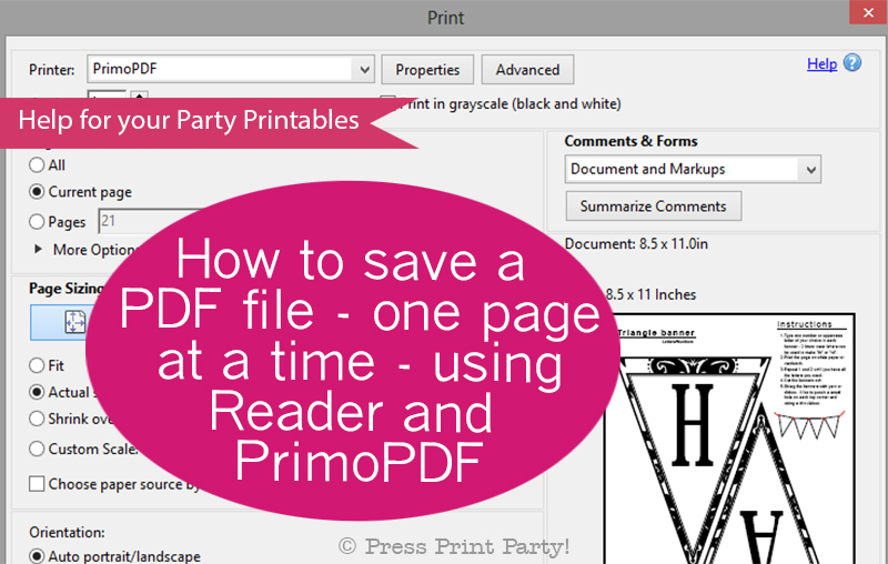 how to save a pdf file one page at a time using reader and primopdf