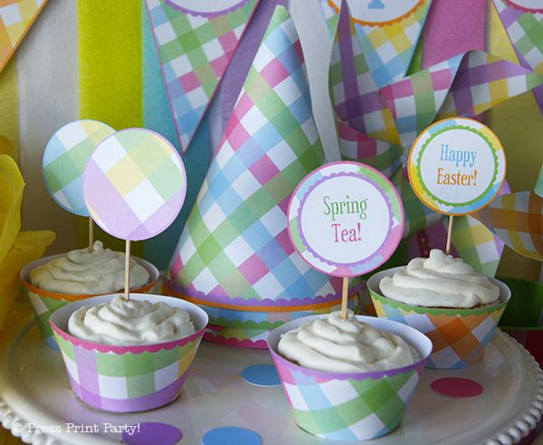 Spring Gingham Printables for Easter by Press Print Party! - Cupcake toppers and party hats