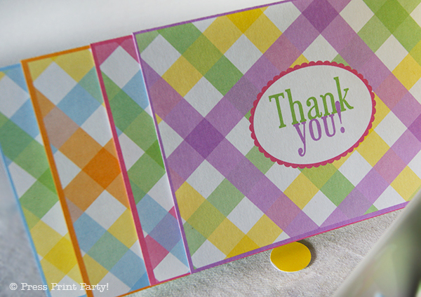 Spring Gingham Printables for Easter by Press Print Party! Thank you notes