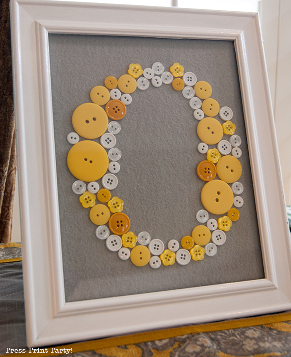 Yellow and Gray Damask Baby Shower Printables by Press Print Party - Framed Initial with buttons