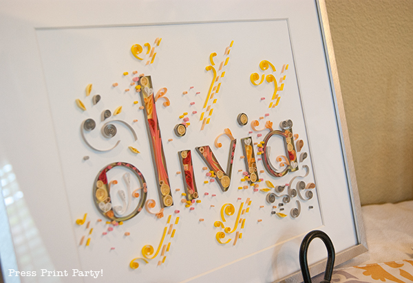 Yellow and Gray Damask Baby Shower Printables by Press Print Party - Framed name - paper quilling