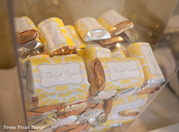 Yellow and Gray Damask Baby Shower Printables by Press Print Party - candy wrappers