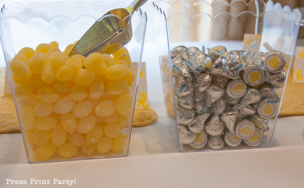 Yellow and Gray Damask Baby Shower Printables by Press Print Party - Hershey Kisses labels