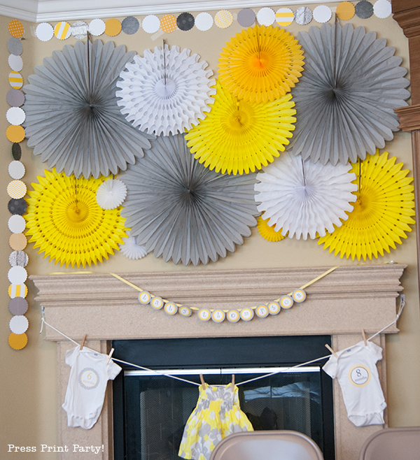 Yellow and Gray Damask Baby Shower Printables by Press Print Party - decorations