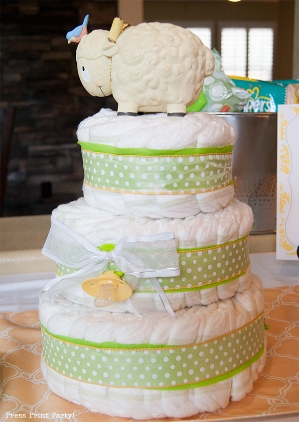 Yellow and Gray Damask Baby Shower Printables by Press Print Party - diaper cake