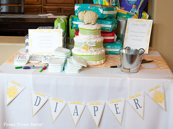 Yellow and Gray Damask Baby Shower Printables by Press Print Party - diaper table