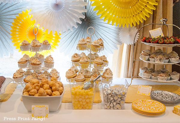 Yellow and Gray Damask Baby Shower Printables by Press Print Party - food table
