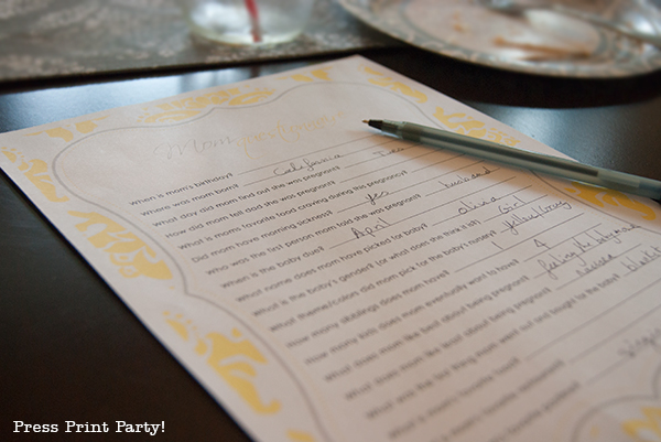 Yellow and Gray Damask Baby Shower Printables by Press Print Party - baby shower games