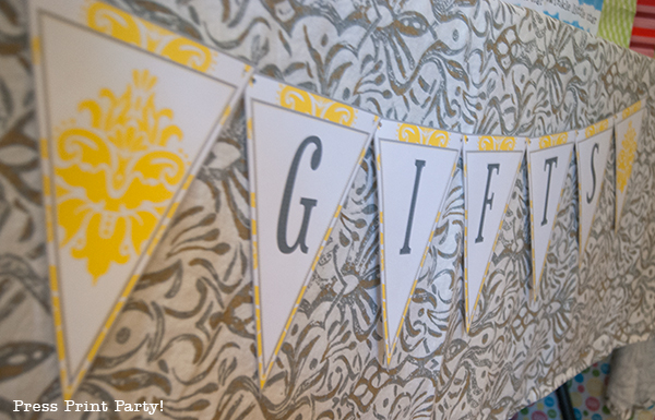 Yellow and Gray Damask Baby Shower Printables by Press Print Party - banner