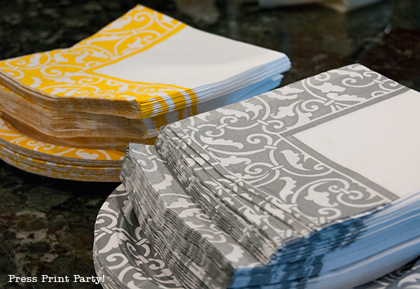 Yellow and Gray Damask Baby Shower Printables by Press Print Party- napkins