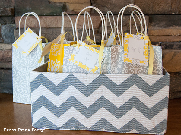 Yellow and Gray Damask Baby Shower Printables by Press Print Party - gift bag tags