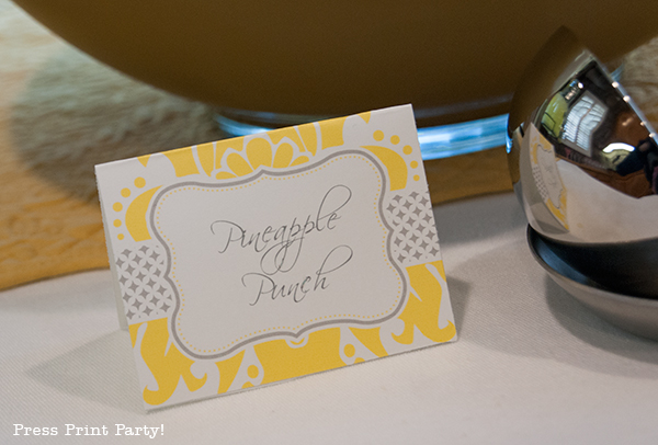 Yellow and Gray Damask Baby Shower Printables by Press Print Party - place cards