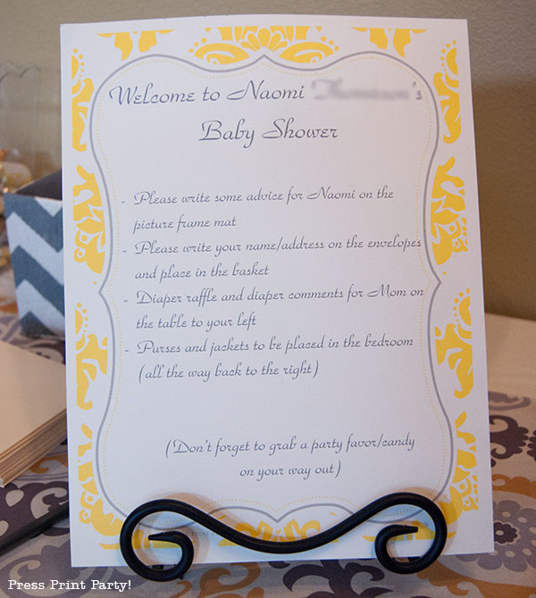 Yellow and Gray Damask Baby Shower Printables by Press Print Party - welcome sign