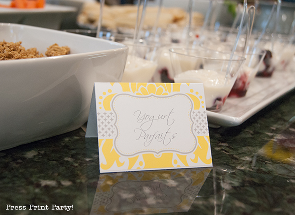 Yellow and Gray Damask Baby Shower Printables by Press Print Party - place card