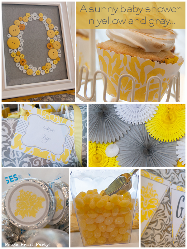 sunny baby shower in yellow and gray press print party
