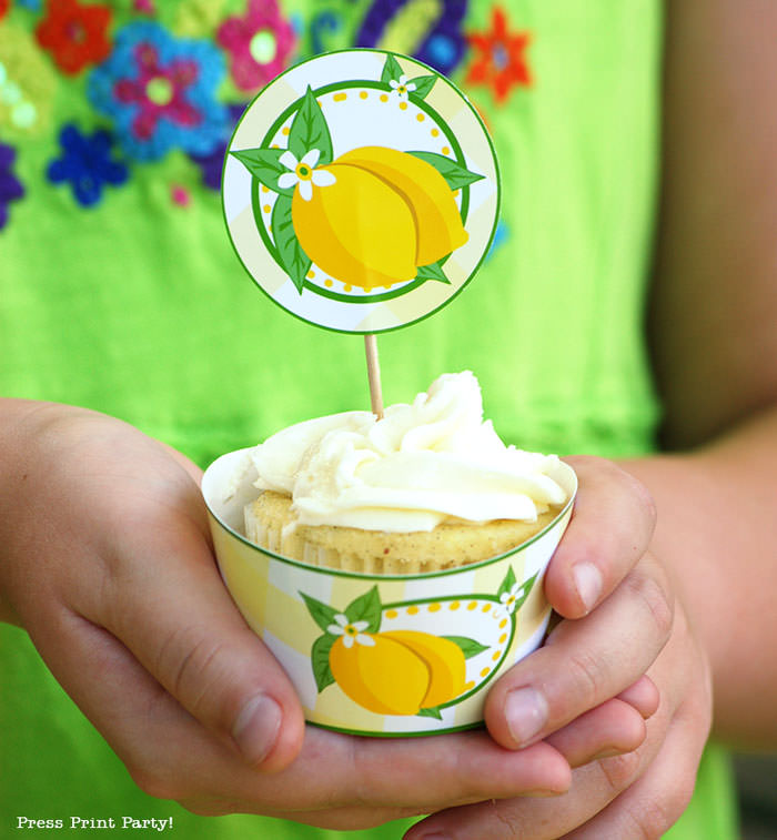 lemon cupcake wrapper and toppers free printables Press Print Party