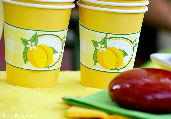 lemonade stand cups with lemons green and yellow. lemonade stand free printables Press Print Party
