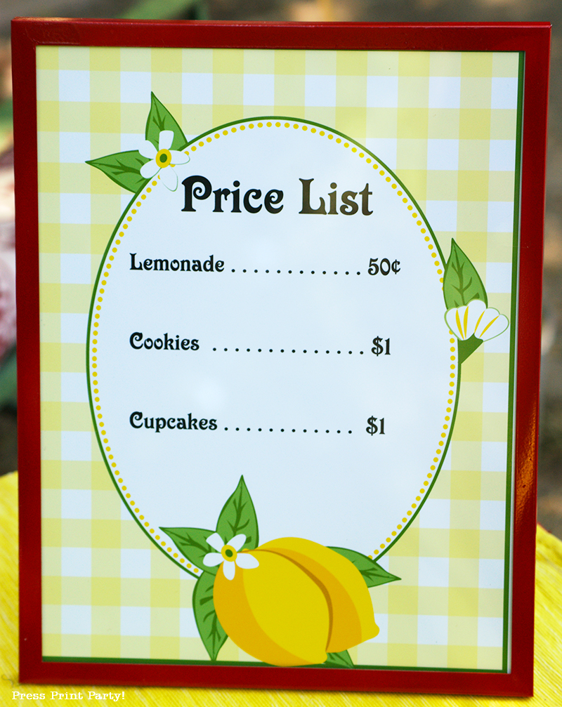 Free Lemonade Stand Printables Press Print Party