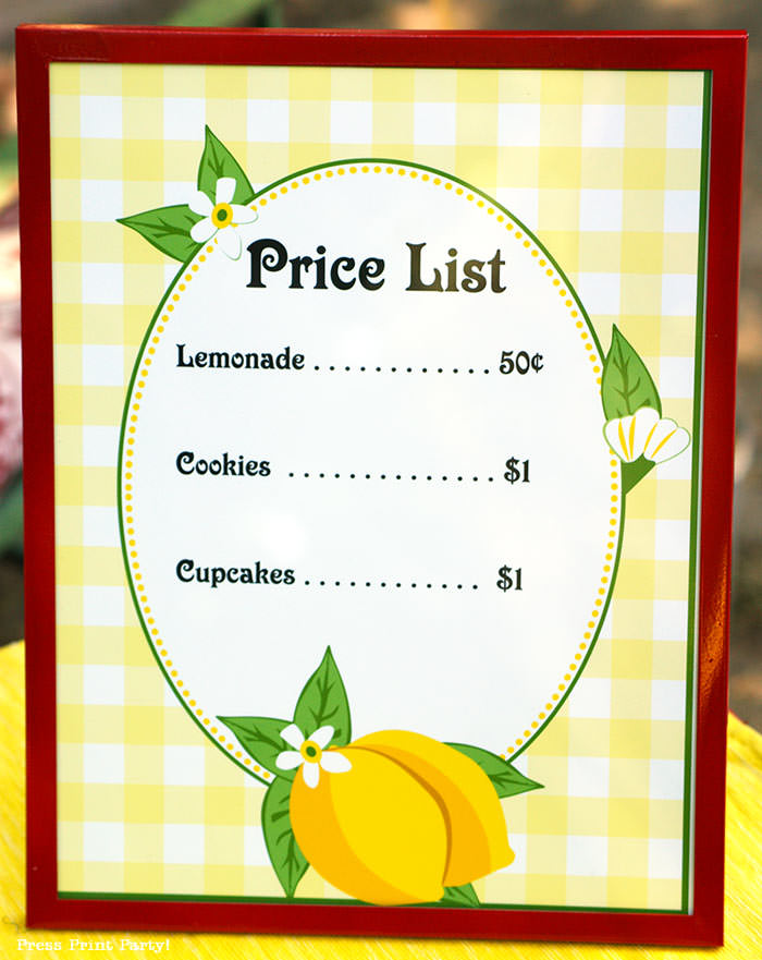 lemonade stand price list free printable Press Print Party