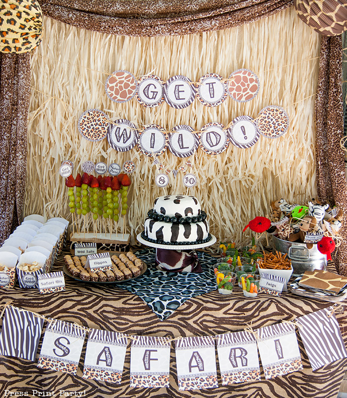 Get Wild african Animal party Safari theme Party Printables - Press Print Party! dessert table