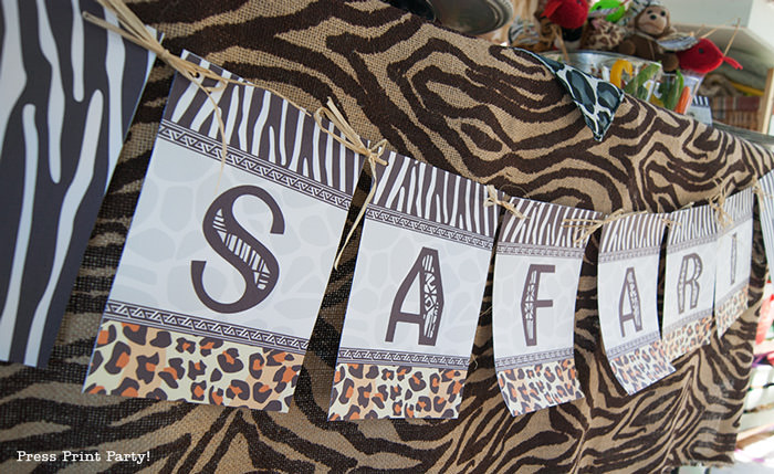 Get Wild african Animal party Safari theme Party Printables - Press Print Party! safari banner