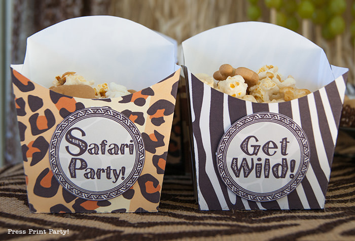 Get Wild african Animal party Safari theme Party Printables - Press Print Party! treat boxes