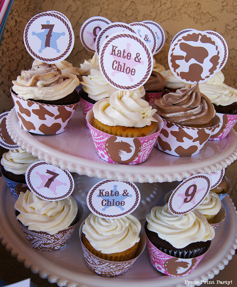 Country Cowgirl Western Party by Press Print Party! Printable cupcake wrappers