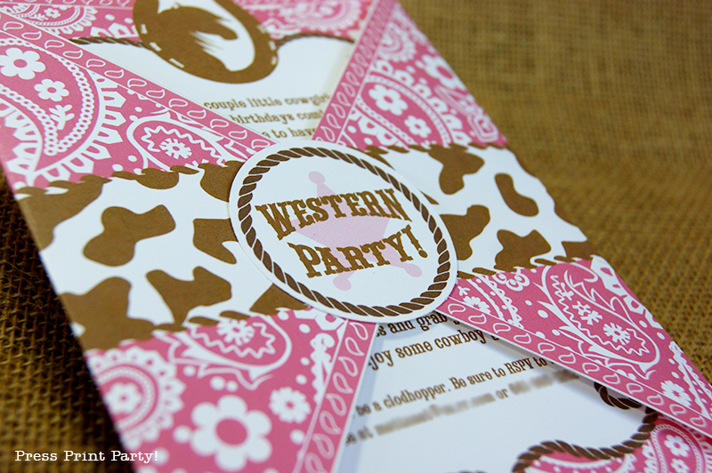 cowgirl birthday western party - by press print party!, Party invitations